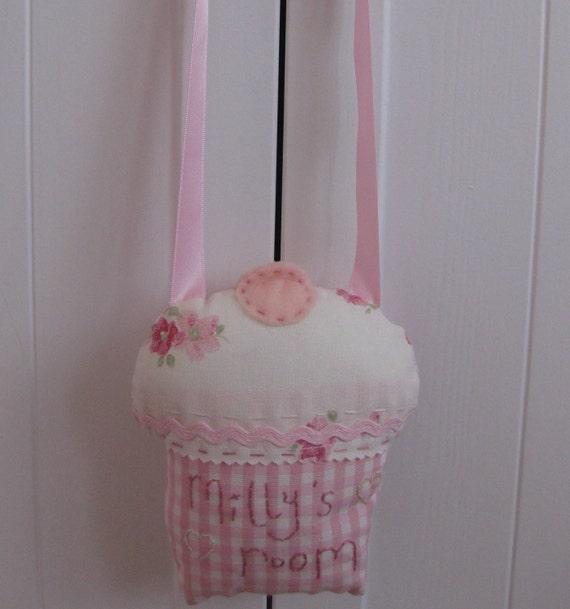 Laura Ashley Fabric Cupcake Door hanger Sign PERSONALISED Girl's room Custom Made