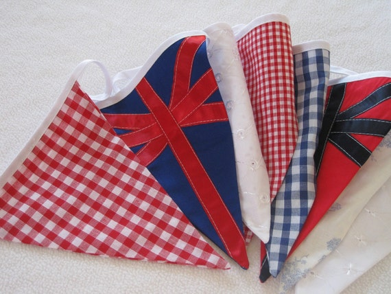 Union Jack British Bunting with Laura Ashley Toile fabric Made to Order Red White Blue