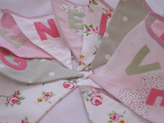 Bella Butterfly Banner Bunting Handmade Laura Ashley Fabric ideal for a Birthday Party or Celebration or Photo prop Custom Made to order