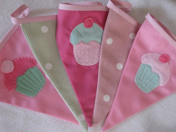 Cupcake Tea Party Banner Bunting Pink and Green Custom made ideal for a Birthday Party or Celebration or Photo prop Custom Made