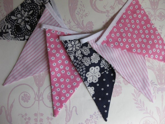 PINK AND BLUE Bunting Banner ideal for Girls Nursery Party Decor Photo prop or Baby Shower Custom made to order