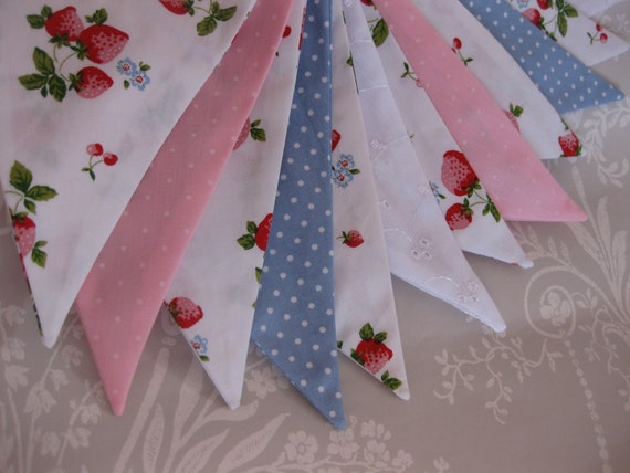 STRAWBERRY FIELDS Banner Bunting Fabric Nursery Birthday Party Baby Shower or Celebration or Photo prop can be personalised Ready to ship