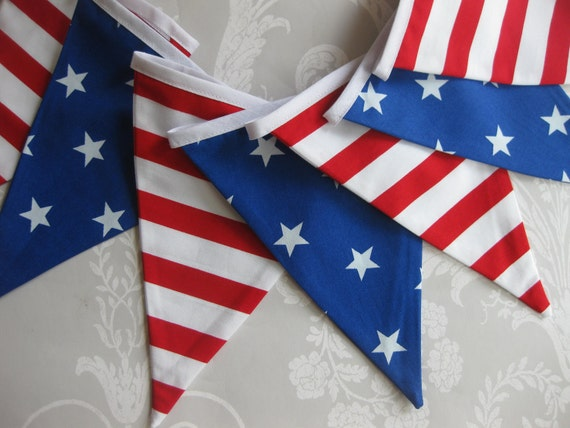STARS AND STRIPES July 4th Bunting Banner lovely for a Party, Celebration or Photo prop can be Custom Personalized Ready to ship