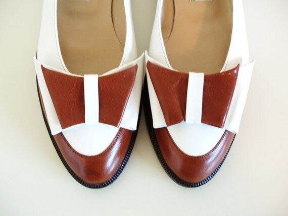 vintage SPECTATOR BOW flats shoes