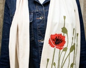 poppy illustration jersey scarf, American Apparel jersey knit scarf, creme, FREE SHIPPING, one size