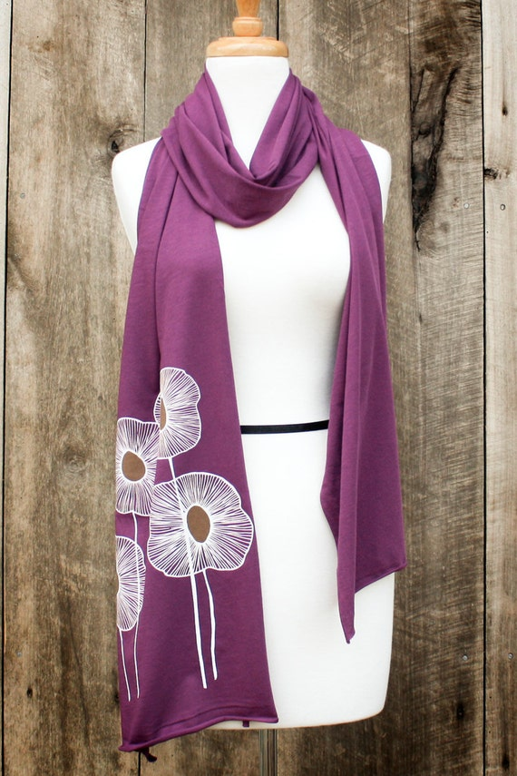 pineapple flowers jersey knit scarf, eggplant