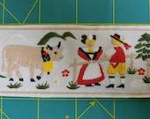 imported France fabric woven TRIM | Goats + Cows | Working Farm | Woven 2-inch trim German Style | Ste Stephanoise De Rubans 4538
