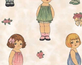 PAPER DOLL FABRIC Large Dolls | rare remnant! By Sherri Marquez + Windham Fabrics | original Paper Dolls | sold out | collectible fabric