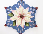 Personalized Wooden Hand Painted Ornaments - Poinsettia Charm