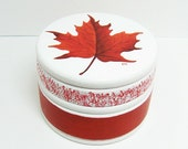 Red Maple Leaf Trinket Box - Hand Painted Wood, One Of A Kind - paintingfromtheheart