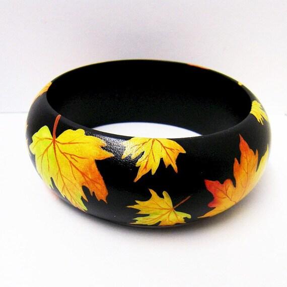 Wooden Bangle Bracelet - Hand Painted - Dome Shape XLarge - Autumn Leaf Spectacular