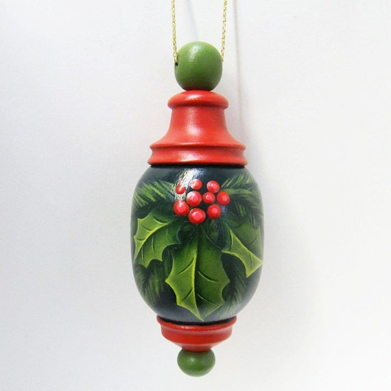 Items similar to christmas ornament turned wood hand