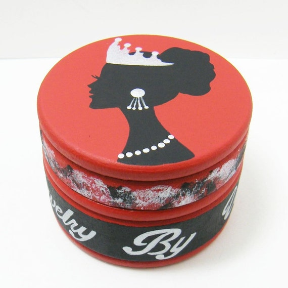 CUSTOM/RESERVED for Vee - Trinket Box In Red/Black/Silver