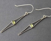 Handmade Sterling and Peridot Cats Eyes Earrings
