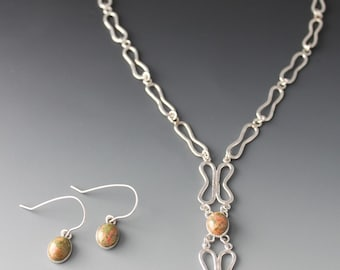 Unakite sterling silver Necklace Set - Valentine's day gift