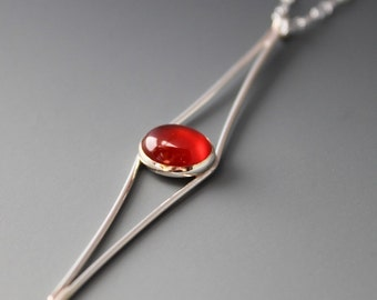 Sterling and Carnelian Cat's Eye Necklace