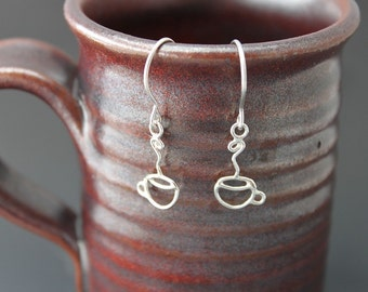 Tiny Espresso Cups - Sterling Earrings