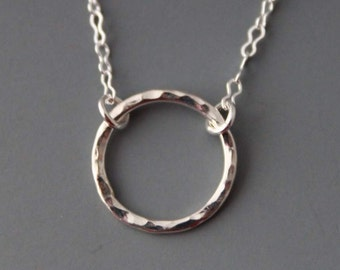Sterling Circle Necklace - Great gift idea