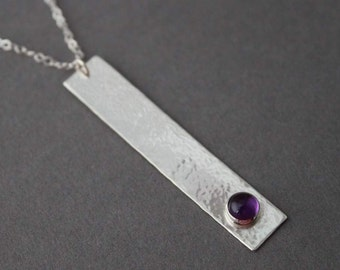 Sterling silver layering necklace , Amethyst Necklace, Gail's Song, Rectangle, Simple