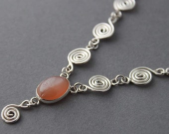 Sterling Peach Moonstone Spiral Necklace - Selling Sea Shells