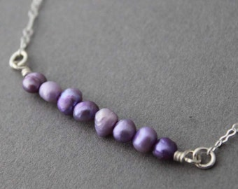 Sterling Lavender Fresh Water Pearl Bead Necklace