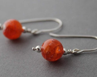 Sterling and Crab Agate Earrings