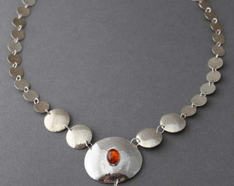 Sterling and Amber Necklace, Statement necklace, Autumn's Glory, OOAK showcase piece