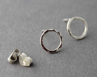 Small Circle Post Earrings, Hammered Sterling, Studs