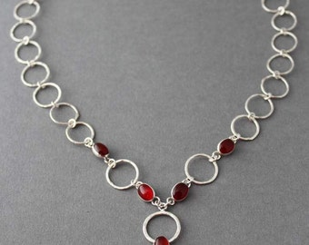Sterling silver necklace, Carnelian Necklace, circles, circular, Forever, Holiday gift