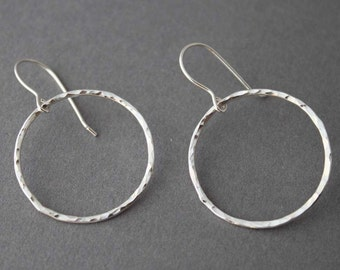 Large Hammered Sterling Circle Earrings