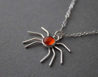 Scary Spider, handmade sterling and Amber necklace