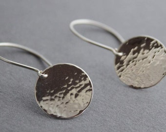 Sterling silver earrings, hammered texture, simple discs