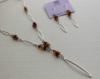 Sterling silver necklace - Baltic Amber - Leaf Drop Necklace and Earring set - was 180.00