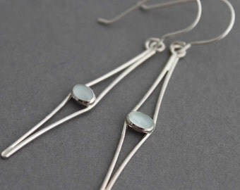 Sterling and Aquamarine Earrings - Cats Eyes