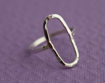Sterling silver ring - Rustic hammered oval ring - Made to order - PLEASE read item description BEFORE purchasing