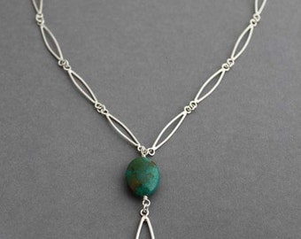 Sterling Chrysocolla necklace Statement Necklace