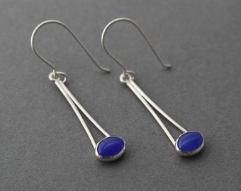 Sterling and Blue Onyx Earrings