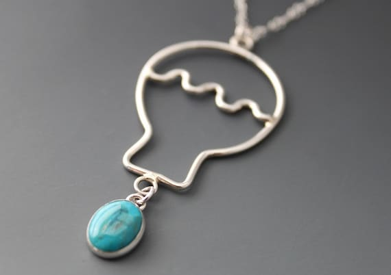 Sterling Silver Turquoise Necklace, Blue Balloon, December's Birthstone