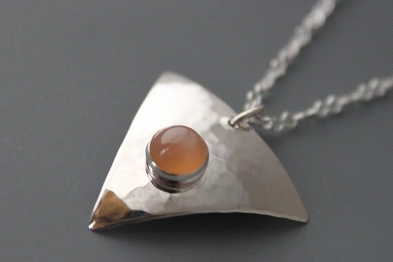 Sterling Peach Moonstone Triangle Necklace, Handmade