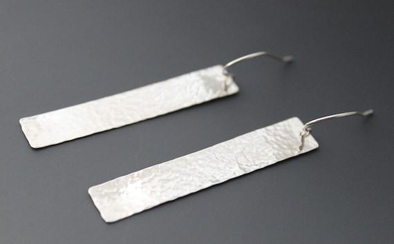 Sterling Earrings, Sexy Long Rectangles, handmade dangles, Hammered Sterling