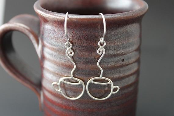 Handmade Sterling Silver Coffee Cup Dangle Earrings