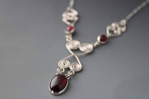Garnet Necklace - Sterling Statement Necklace - Your Love Amazes Me