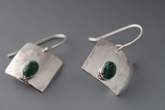Sterling and Chrysocolla Square Earrings
