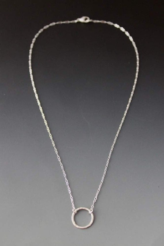 Sterling Circle Necklace, layering necklace, Simple
