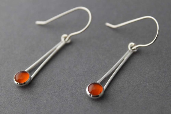 Sterling silver earrings, Amber drop earrings, Chopsticks