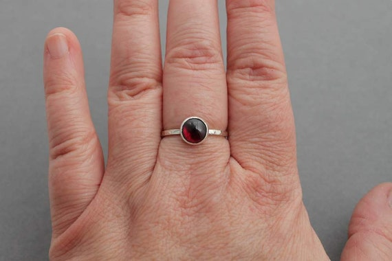 Sterling and Garnet Ring - Size 9 - Ready to ship - Handmade