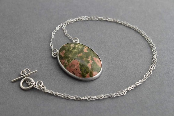 Sterling  and Unakite necklace, Simplicity, Ready to ship, Handmade