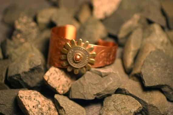 Sunburst Riveted Copper Cuff - Columbia