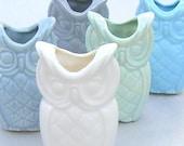 single owl candlestick or bud vase ala macrame