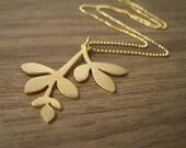 Matte Gold Leaf Necklace 0UTLET PRICE